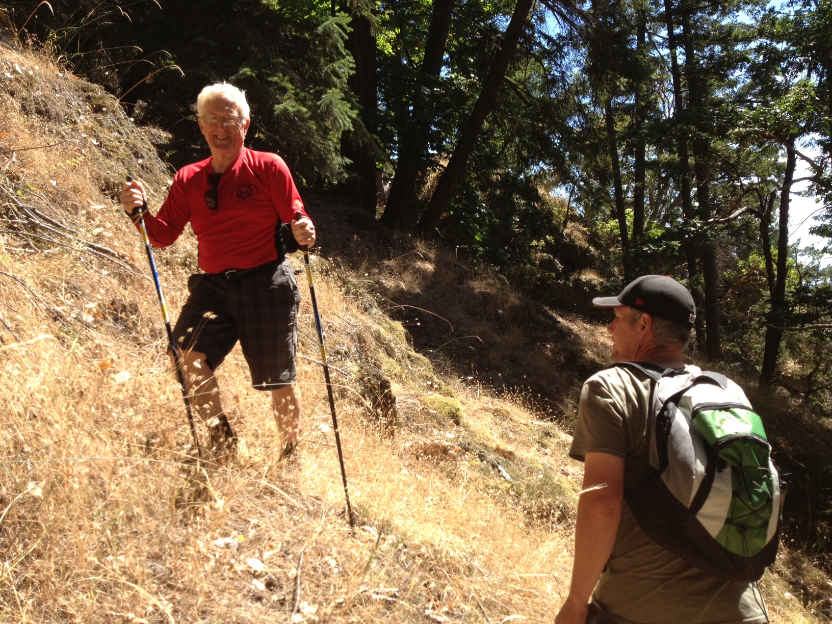 Hiking with his youngest son